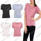 New Ladies Short Sleeve Plain Ruffle Frill Pleated Detail Basic T-Shirt Tee Top