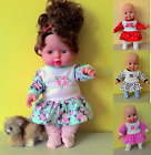 """VARIOUS DESIGNS COLOURS DRESS WITH APPLIQUE AND TIGHTS FOR 30 CM 12"""" DOLL CUTE"""