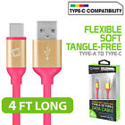 Flexible / Soft / Tangle-Free Type A to type C USB Sync Data Transfer Cord Cable