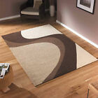 BEIGE BROWN CREAM WAVE LARGE MODERN QUALITY RUG - THICK SOFT NON-SHED SALE RUGS