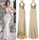 CELEB GOLD SEQUIN KEYHOLE BUST NUDE SLINKY FISHTAIL MAXI PARTY PROM DRESS 6-14