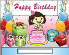 Birthday Girl Cartoon Character Personalized Matted Print  Product  11 x 14