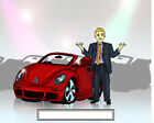 Car Sales Male  Cartoon Character Personalized Matted Print  Product  11 x 14