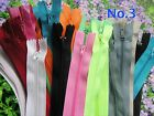 PACK of 80 pieces  CLOSED END No3 NYLON ZIPS. AUTO LOCK. SEWING & CRAFT ZIPPERS