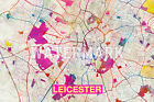 Graphic Map of Leicester, England - Beautiful Photo Poster Print Street