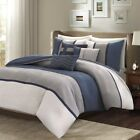 6pc Heather Grey & Blue Microsuede Duvet Cover Bedding Set AND Decorative Pillow image