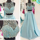 Popular Two Piece Long Evening Dress Beading Formal Pageant Prom Party Gowns