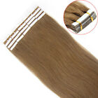 20PCS PU Seamless Skin Tape in Weft Remy Real Human Hair Extensions Light Brown