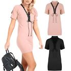 Womens Choker V Plunge Front Lace Up Short Sleeve Tunic Bodycon Fit Mini Dress