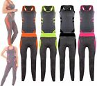 WOMENS 2 PCS WORKOUT FITNESS TRACKSUIT SPORTS YOGA GYM MUSCLE TOP VEST LEGGINGS