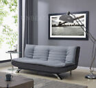 Venice Sofa Bed Padded Charcoal or Egg Grey Fabric White Faux Leather SofaBed