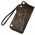 Men Real Leather Rub Color Retro Phone Wallet Multi Card Organizer Long Style