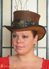 Steampunk Hat Time Traveller Key Holder Gears Bullets Leather Top Hat 2 Tones