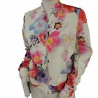 Ladies White Pink Floral Print Zip Front Bomber Blouson Jacket Long Sleeve