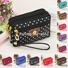 Womens Dots Print Nylon Small Coin Purse Card Zipper Wallet Holder Phone Bag New