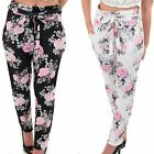 Womens Elasticated High Waist Floral Print Textured Crepe Office Smart Trousers