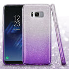 For Samsung Galaxy S8 Glitter Silicone Armor Hybrid Phone Protector Case Cover