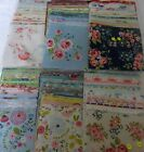 CHARM PACKS OF  64 4.5 INCH SQUARES, 32 PATTERNED 32 WHITE, 9 COLOUR CHOICES