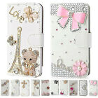 UK Bling Diamond Leather Wallet Case Flip 360 Cover for iPhone 4S 5S 6S 7 7 Plus