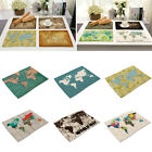 World Map Printed Rectangle Insulation Bowl Placemats Coasters Western Table Mat