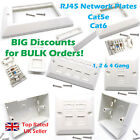 RJ45 Network Cat5e Cat6 Single Double Gang Face Plate Back Box Keystone Jack Lot
