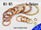 M23 / M25 Thick 2mm Metric Copper Flat Ring Oil Drain Plug Crush Washer Gaskets