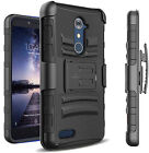 For ZTE Max XL / N9560 Heavy Duty Armor Case Hard Cover w/ Belt Clip Holster