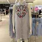 ZARA NEW S/S 2017. BLUE STRIPED EMBROIDERED FLORAL SHIRT DRESS. REF 4095/022.