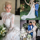 Vintage Lace Wedding Dresses High Neck Long Sleeve Applique Bridal Gowns Custom