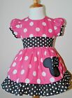 GIRLS MINNIE MOUSE PUFF, CUP HOT PINK SLEEVES DISNEY  DRESS 12M TO 6Y