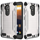 For ZTE MAX XL N9560 Brushed Metallic Design Dual Layer Armor Hybrid Cover Case