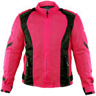 Xelement XS3044 Impulse Womens Black/Hot Pink Mesh Tri-Tex Armored Motorcycle J