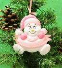 Personalised Baby's 1st Christmas Tree Ornament for Snow Baby Girl Pink