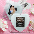 Heart Shaped Glass Photo Coaster Wedding Favors - sets of 2 - 30-72 Qty