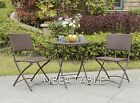 2 Chair Folding Pe Rattan Bistro Set And Dining Table Garden Furniture Outdoor