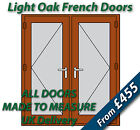 Light Oak uPVC French Doors - Made to Measure - Chrome handles, Silver spacer