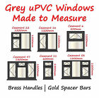 Grey uPVC Windows | BRASS Handles | GOLD Spacer Bars - Grey Windows RAL 7016
