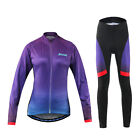 New Women's Bike Bicycle Long Sleeve Quick Dry Anti-UV Jersey Pants Padded Suits
