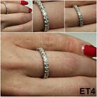 1.68 CARAT STERLING SILVER VTG ROUND CZ STACKED ETERNITY BAND RING ~ SZ5-10~ET4~