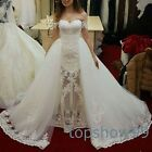 New Arriva Detachable Lace Wedding Dress Ball Gowns Cap Sleeve Sexy Bridal Gowns