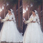 Luxury  Long Sleeve Lace Applique Wedding Dress White/Ivory Bridal Ball Gowns