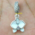 925 Sterling Silver Orchid White Enamel Clear Orchid CZ Fit Charm Bracelet