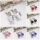 6 Colors Elegant Fashion Jewelry Geometric Square Crystal Charm Dangle Earrings
