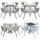 MARKO OUTDOOR 5PC ALUMINIUM GARDEN FURNITURE BISTRO STACKING TABLE CHAIRS CHROME