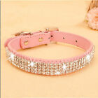 Bling Rhinestone Leather Crystal Diamond Puppy Collar Pet Dog Collars US STOCK