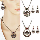 New Retro Alloy Crystal Vase Shaped Lotus Pendant Necklace Earring Jewelry Set