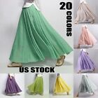 Women Linen Pleated Maxi Long Beach Boho Skirt Lady Vintage Casual Cotton Dress