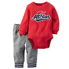 Carters 6 Months Football Bodysuit & Terry Pants Set Baby Boy Clothes Red Gray