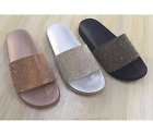 Womens Ladies Diamante Rose Shimmer Comfy Rubber Sliders Slippers Shoes
