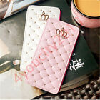 Bling Glitter Diamond Crown Flip Leather Wallet Case Card Slot Stand Cover Skin